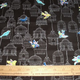 Cotton Blend Black & Gray Birdcages and colorful birds (20)