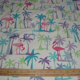 Cotton Blend PINK FLAMINGOS a nice thick weight (26)