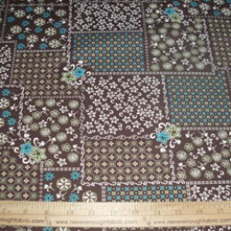 Cotton Blend (or all cotton) square patterns in cream, green, turquoise on brown