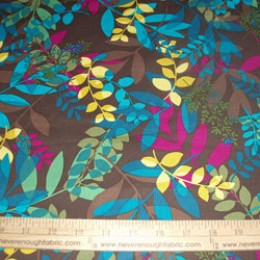 Cotton Blend Tropical Flowers in turquoise fuschia yellow and green on brown (35)