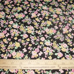 Cotton Blend - all cotton? yellow and pink roses on black (39)