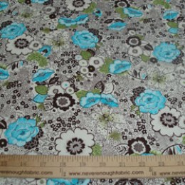 Cotton Blend Flowers on cream Turquiose brown olive (40)