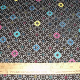 Cotton Blend pink/blue/yellow flowers on black and gray (41)