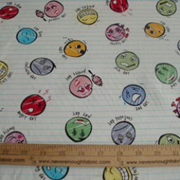 Cotton Blend fabric Mood faces on stripe 58/60 wide (42)