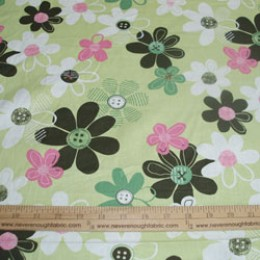 Cotton Blend flowers in dark army green, white, pink and green on a limey green (45)