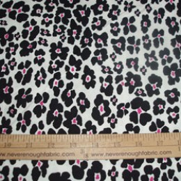 Cotton Blend Pink & Black flowers on creamy white (49)