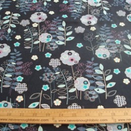 "Cotton Blend flowers in blue and lavender on dark blue 58/60"" wide (60)"