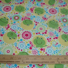 Cotton Blend Happy Frogs in circles (61)