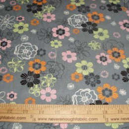 "Cotton Blend 58/60"" wide orange pink green and black flowers on gray (62)"