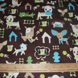 Cotton Blend green & blue dogs on brown (64)