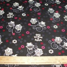"Cotton Blend 58/60"" wide OWL you need is love (70)"