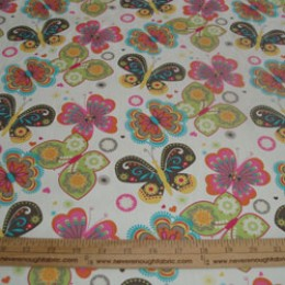 "Cotton Blend 58/60"" wide Retro Hippie Mod colored BUTTERFLIES on white"