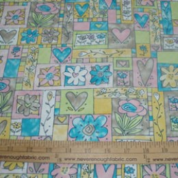 "Cotton Blend 58/60"" wide Pastel butterflies and hearts beautiful and a nice heavier weight (74)"