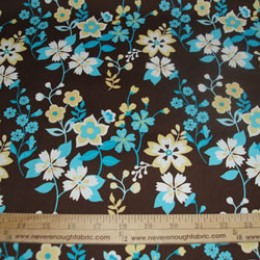 Cotton Blend turquoise and yellow flowers on brown (77)