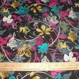 Cotton Blend fall leaves in fuschia turquoise yellow and green (79)