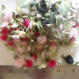 Assorted sizes colors ORGANZA ribbon roses  #46