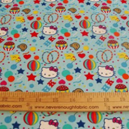 Hello Kitty Sanrio cotton fabric Big Top collection ~ Circus confetti on blue