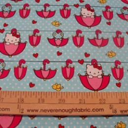Hello Kitty Sanrio cotton fabric Rain or Shine collection Get out the umbrellas!