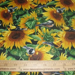 Cotton Wild Wings Sunflowers and Birds
