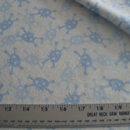 Flannel 2 shades of blue skulls on white