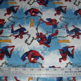 "Poly/Cotton spiderman 58"" wide"