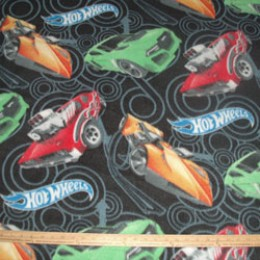 Fleece Hot Wheels race cars on black