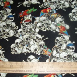 Cotton Fabric pile of skulls and parrots
