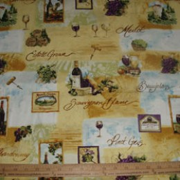 Cotton Fabric Assorted Wines Vineyard SSI
