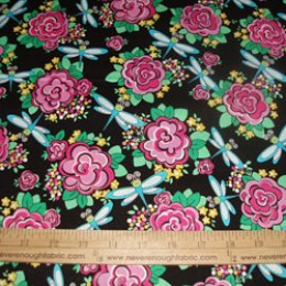 Cotton Fabric Cabbage Roses and Dragonflies on black