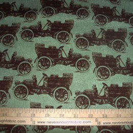 Cotton Fabric Grandmas House OLD TIME CAR on moss