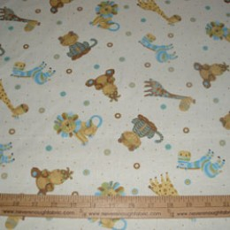 Cotton Baby Safari Animals on creamy white