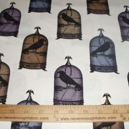 Michael Miller NEVERMORE collection JACKDAWS crow in cage MULTI