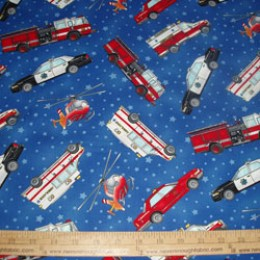 Cotton Fabric Emergency Vehicles on blue with stars