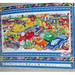 I Spy Quilt PANEL with cars