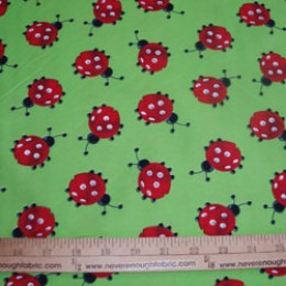 Poly/Cotton LADYBUGS on GREEN