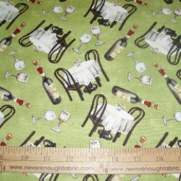 Cotton Fabric by Susan Wheeler BISTRO in GREEN