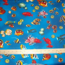 Robert Kaufman Rainbow Cove fish on blue