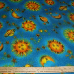 Fleece Moon and Stars Celestial on blue
