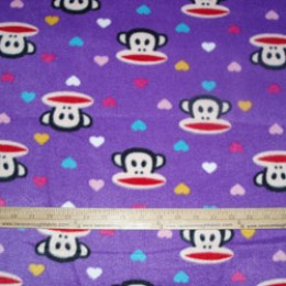 Fleece Fabric Paul Frank Monkey on Lt Purple