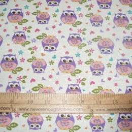 DT Cotton What a hoot Owl on cream