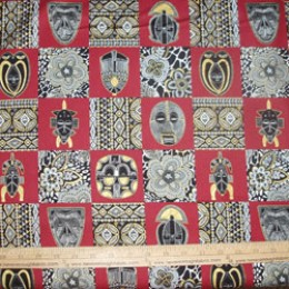 Cotton Fabric African Spirit by Elizabeth Studio on deep red