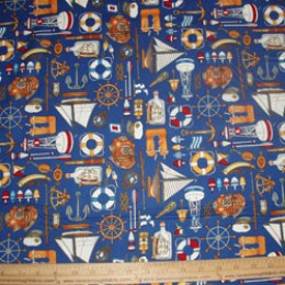 Cotton Fabric Anchors Away! Nautical items on blue