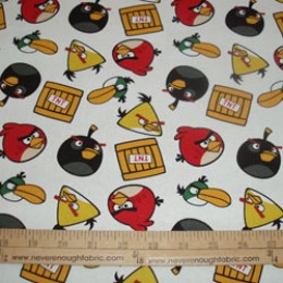 Cotton Fabric Licensed Angry Birds on white