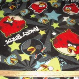 Fleece Licensed ANGRY BIRDS star burst on black