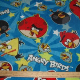 Fleece Licensed ANGRY BIRDS star burst on blue