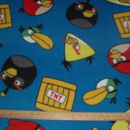 Fleece Licensed ANGRY BIRDS TNT on blue