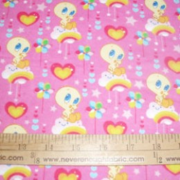 Cotton FLANNEL Baby Tweety Bird on pink