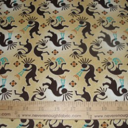 Cotton Fabric Kokopelli on TAN
