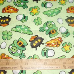 Cotton Fabric Licensed ANGRY BIRDS ST Patricks Day