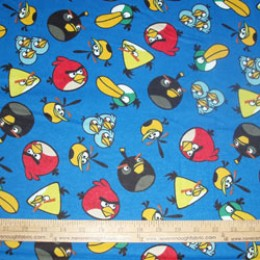 Cotton FLANNEL ANGRY BIRDS  licensed on blue